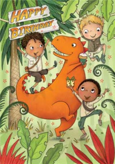 Dinosaur and Boys Birthday Card