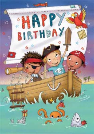 Boys In Pirate Ship Birthday Card