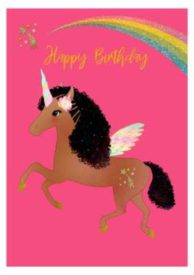 Brown Unicorn and Rainbow Birthday Card