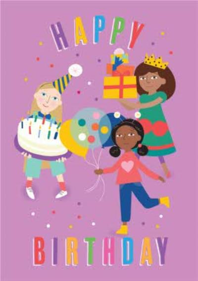 Girls Party Balloons and Cake Birthday Card