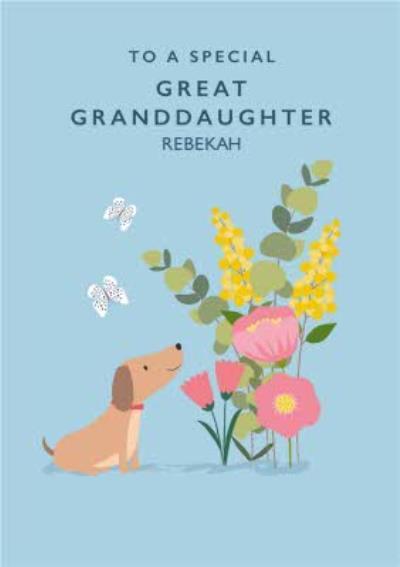 Klara Hawkins Cute Animal Floral Great Granddaughter Card