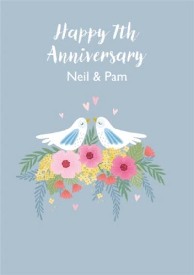 Cute Illustrative Dove Anniversary Card