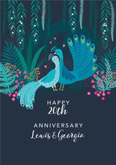 Cute Illustrative Peacock Anniversary Card
