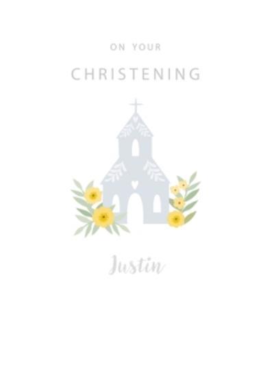 Cute Illustrative Church Christening Card