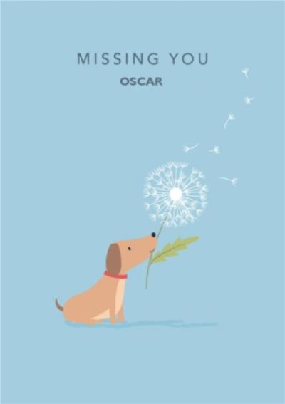 Blue Cute Sausage Dog Missing You Card