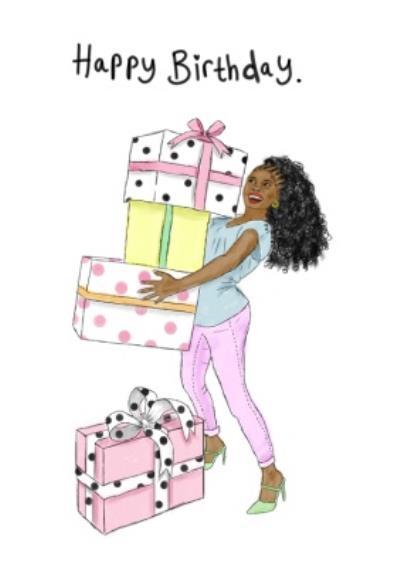 KitsCH Noir Woman Presents Happy Birthday Card