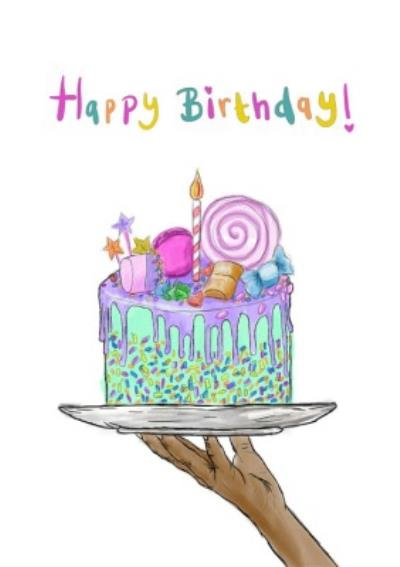 KitsCH Noir Illustrated Cake Birthday Card