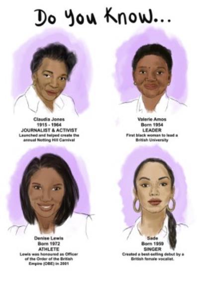 Illustrated Black History Month Women Birthday Card