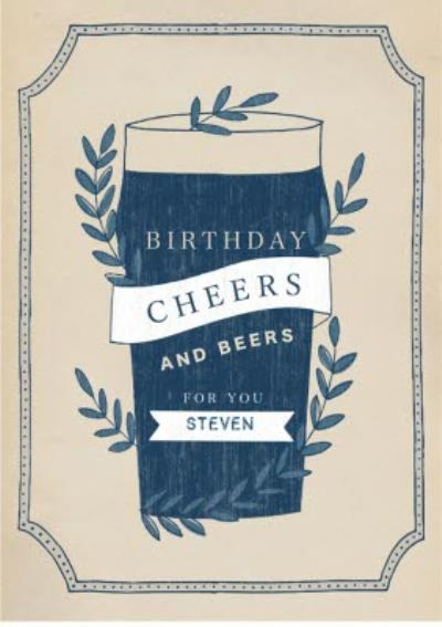 Mens birthday card - pint - beer