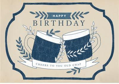 Mens birthday card - quick card - beer - pint