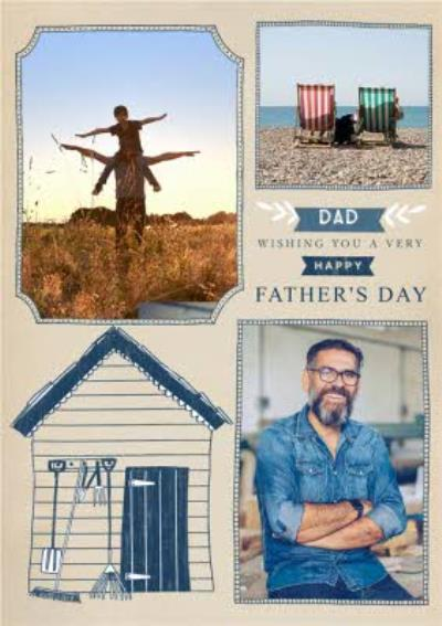 Seaside beach hut Dad Father's Day personalised photo upload card