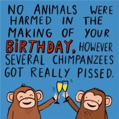 No Animals Were Harmed In The Making Of Your Birthday. Monkeys Toasting Champagne Card