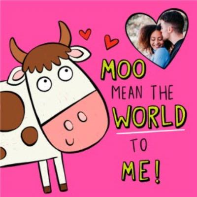 Illustration Cow Moo Mean The World Photo Upload Card