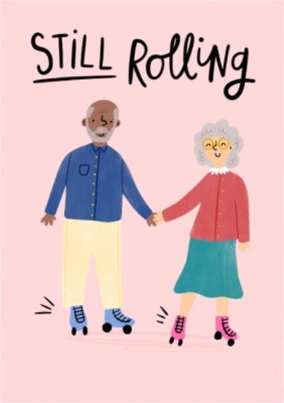 Cute Love Holding Hands Senior Adult Roller Skates Card