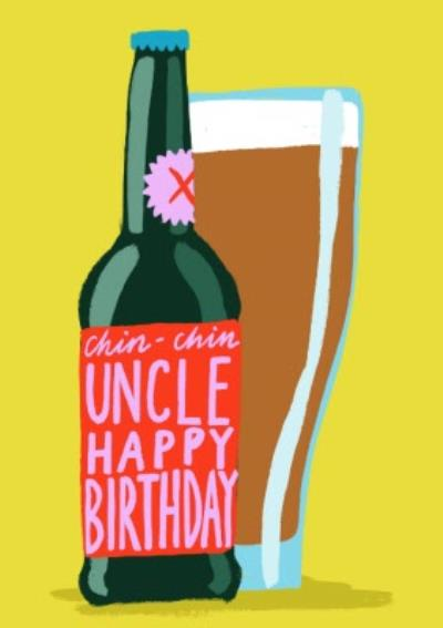 Illustration Bottle of Beer Uncle Happy Birthday Card
