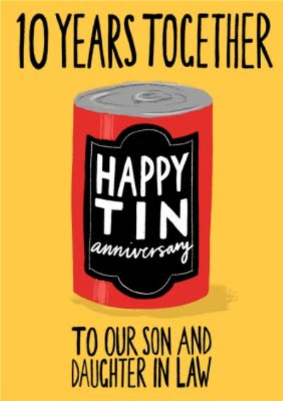 Katy Welsh Illustration To Our Son & Daughter In Law 10 Year Anniversary Card