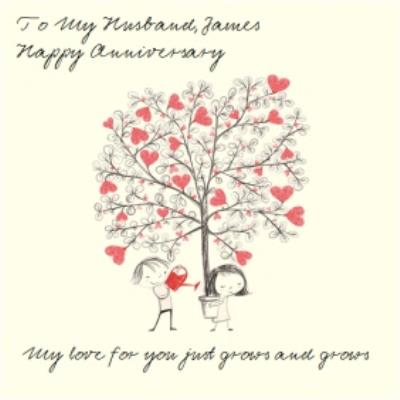 Heart-Filled Tree To My Husband Personalised Anniversary Card