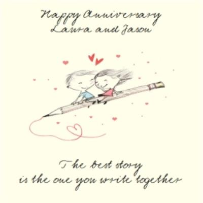 The Best Story Personalised Happy Anniversary Card