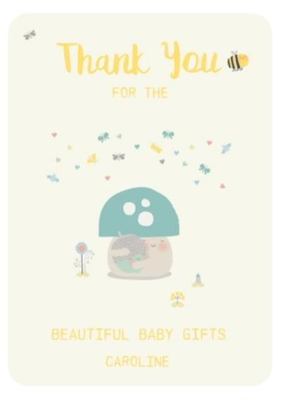 Little Acorns Thank You For The Beautiful Baby Gifts Personalised Thank You Card