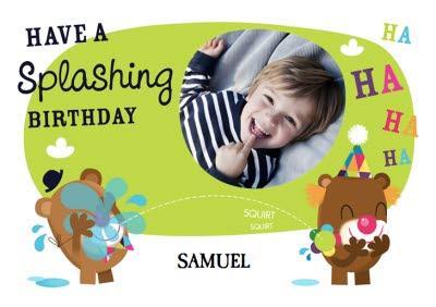 Clown Bear Splashing Personalised Photo Upload Happy Birthday Card