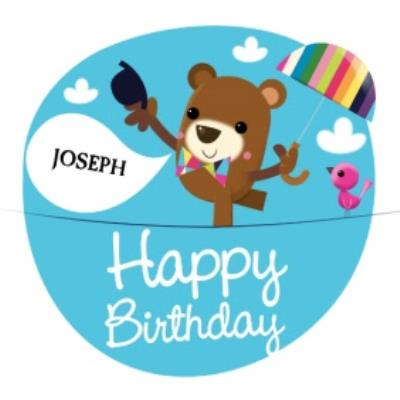 Bear On A Type Rope With Umbrella Personalised Happy Birthday Card