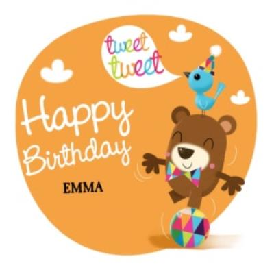 Balancing Bear And Friends Happy Birthday Kids Card