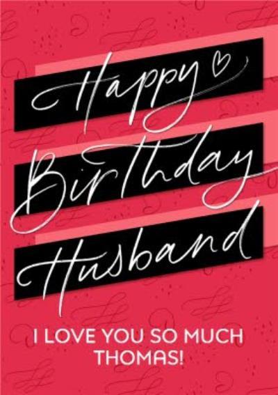 Bright Typographic Husband Birthday Card