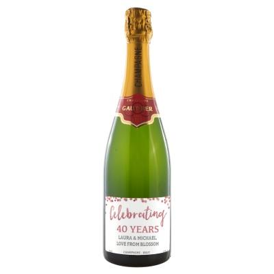Happy 40th Anniversary Personalised Champagne