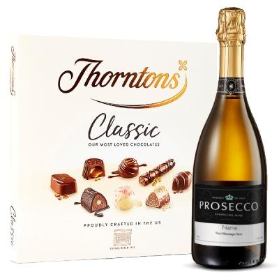 Personalised Prosecco 75cl and Thorntons Classic Gift Set