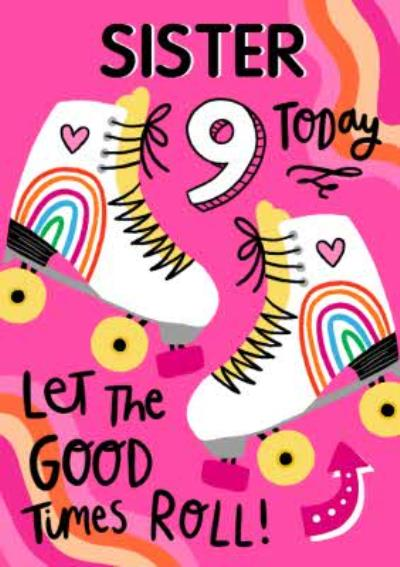 Illustrated Skates Let the Good Times Roll Birthday Card