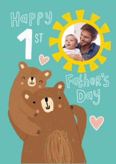 Illustrated Cute Bears Happy First Fathers Day Card