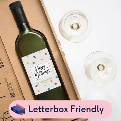 Happy Birthday Letterbox White Wine