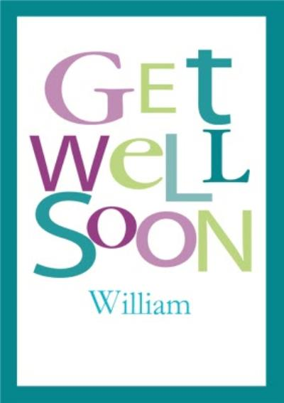 Green And Purple Bordered Personalised Get Well Soon Card