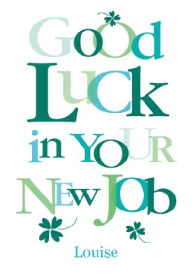 Personalised Big Green Letters Good Luck In Your New Job Card
