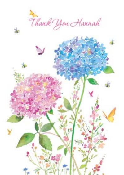 Watercolour Flowers Personalised Thank You Card