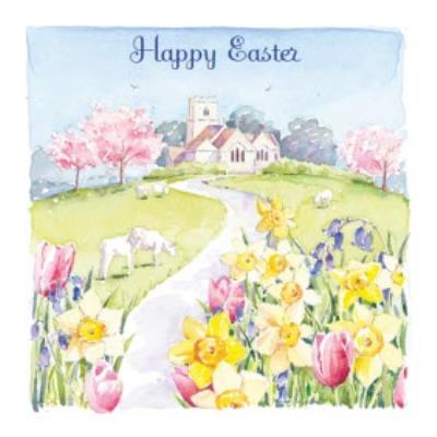 Watercolour Spring Flowers Happy Easter Card