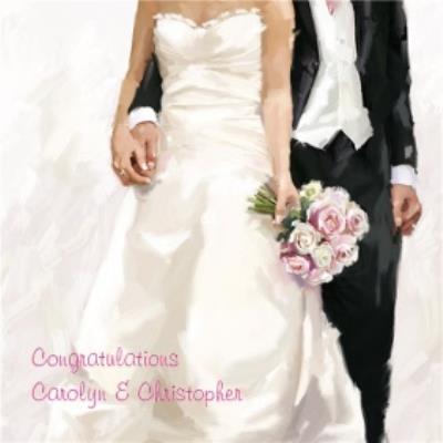 Watercolour Bride And Groom Congrats Wedding Card