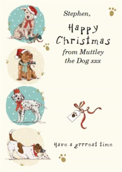 Festive Puppies Personalised Happy Christmas From The Dog Card