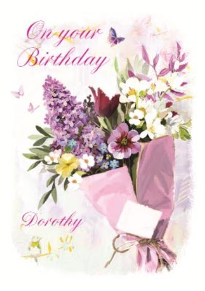 Traditional Flower Illustration Birthday Card