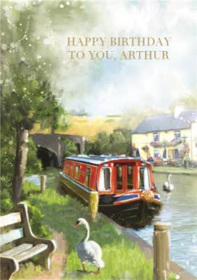 Summertime On The Canal Happy Birthday Card