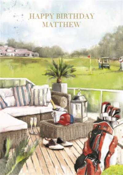 Summertime Playing Golf Personalised Birthday Card