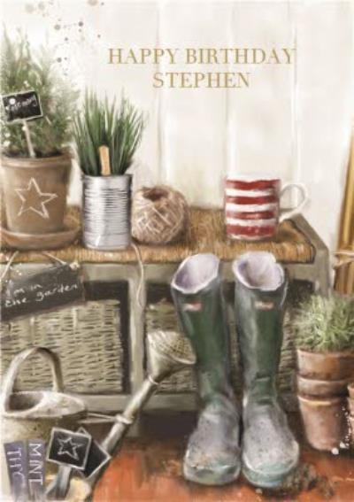 Garden Hut Personalised Birthday Card