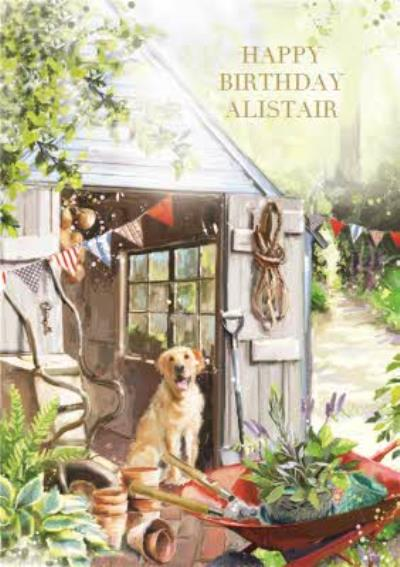 Golden Retriever In The Garden Personalised Birthday Card