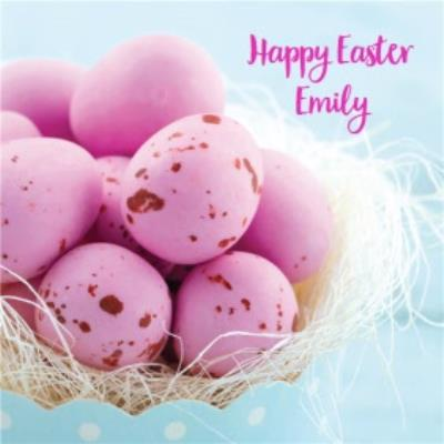 Bright Pink Eggs Personalised Easter Card