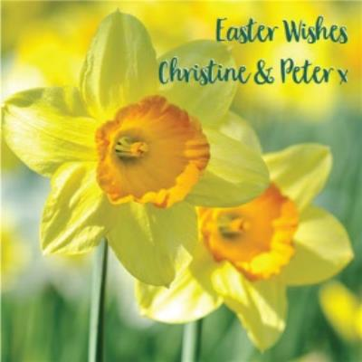 Personalised Easter Wishes With Daffodils Card