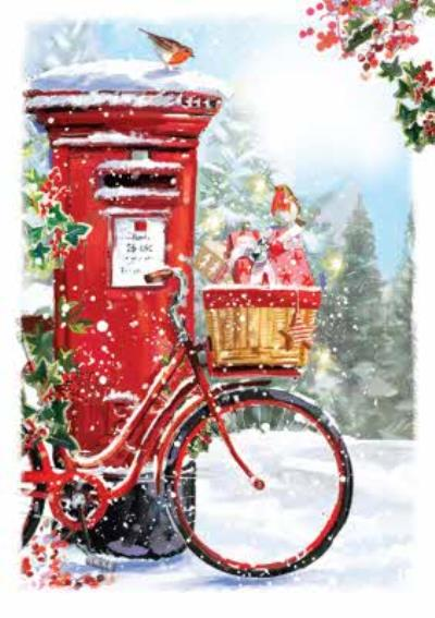 Robins Bicycle And Post Box Scene Across The Miles Christmas Card