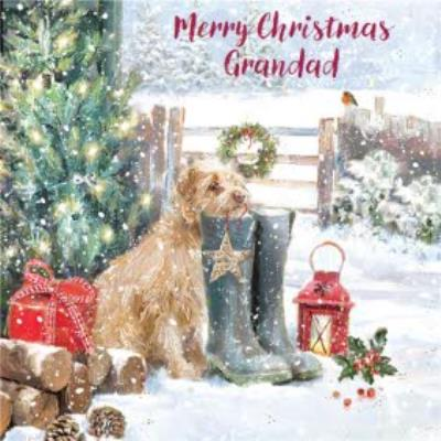 To Grandad Dog And Wellies Square Christmas Card