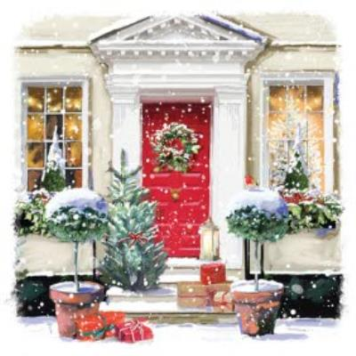 Front Door With Wreath Christmas Greetings Card