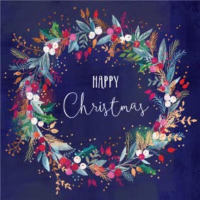 Christmas Wreath Navy Background Card