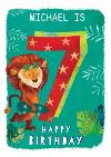 Ling design - Kids Happy Birthday card - Lion - 7 Today